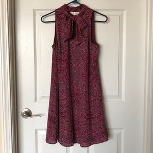 Pattern burgundy dress